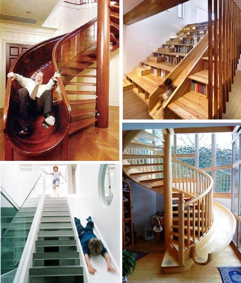 Горка-лестница между первым и вторым этажом загородного дома